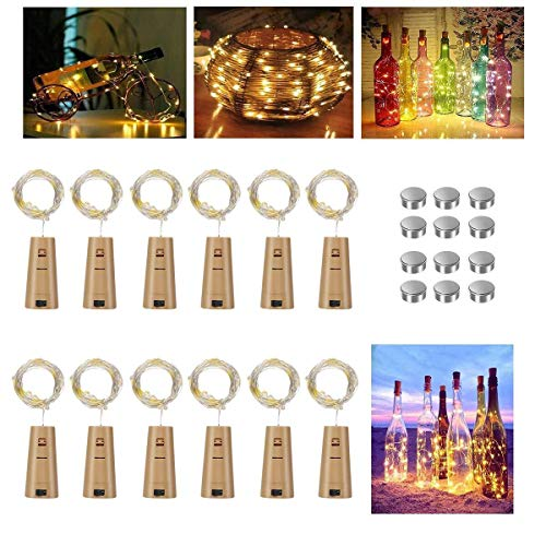 Vicloon Bottle Lights, 12 Pack String Lights Wine Lights with Cork, 2M 20 LEDs Copper Wire Battery Operated Warm White Lights DIY Decoration for Parties, Wedding, Outdoor(Battery Box Upgrade Design)