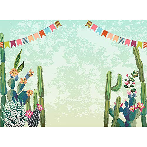 Miutoao 7X5ft Cactus Party Backdrop Bridal Shower Fiesta Birthday Cactus Desert Party Watercolor Flowers Mexican Theme Birthday Backdrop