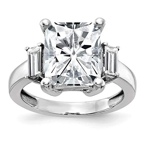 14k White Gold 3 Stone Engagement Band Ring G H I True Moissanite Size 7.00 ?stone Fine Jewellery For Women Mothers Day Gifts For Her