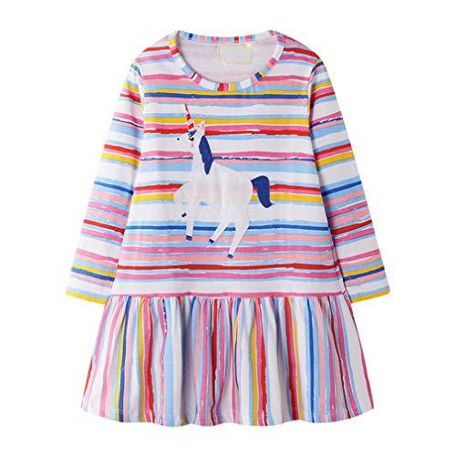 Vestido tipo camiseta para niña de algodón, corto, de manga larga, informal, bonito estampado, 1-7 años # Rainbow Stripes 1-2 Años