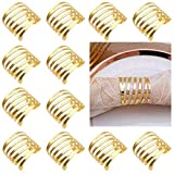BaiMaTp Gold Napkin Rings Set of 12 Hollow Out Napkin Rings Holder for Thanksgiving Christmas Everyday Holiday Party, Gold