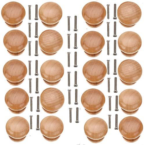 20 Stücke Holz Schubladengriff Möbel Knöpfe Runde Pilz Griffe