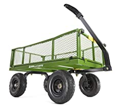 "Features 10"" no-flat foam-filled tires that are maintenance-free and ensure you never have to put air in the tire again 40"" x 21"" bed with 800-lbs. load capacity Removable sides allow cart to be quickly converted to a flat-bed 2-in-1 handle easily co..."