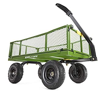 Gorilla Carts 2140GCG-NF 4 Cu Steel Utility Cart with No-Flat Tires Green  Amazon Exclusive