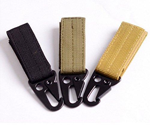 3 Clé Mousqueton haute résistance en nylon Crochet boucle à suspendre en toile molle Système Boucle de Ceinture à suspendre Camping Randonnée Accessoires
