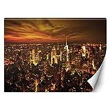 Feeby Fotomurales Noche Ciudad Nueva York 100x70 cm Naranja Papel Tapiz Fotográfico Decorativos Murales Dormitorio Oficina Hotel Spa Manhattan NYC USA