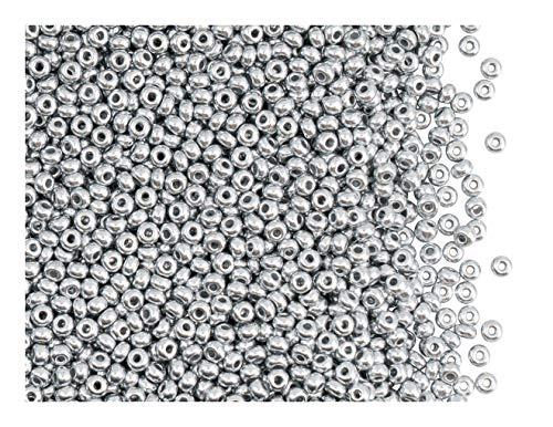 Rocailles Preciosa 20 Gramm (ca. 1820 Stück) Tschechische Glas, Größe 10/0 (2,2mm - 2,4mm), Farbe: Kristall Bronze Aluminium (Silber Matt)