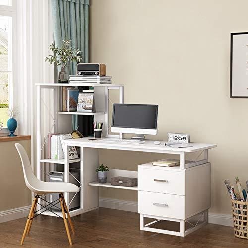 BONJIU Modern Office Learning Desk, Home Desk,Computer Desk with Multiple Racks and Drawers, Compact Desk for Home Office Desk