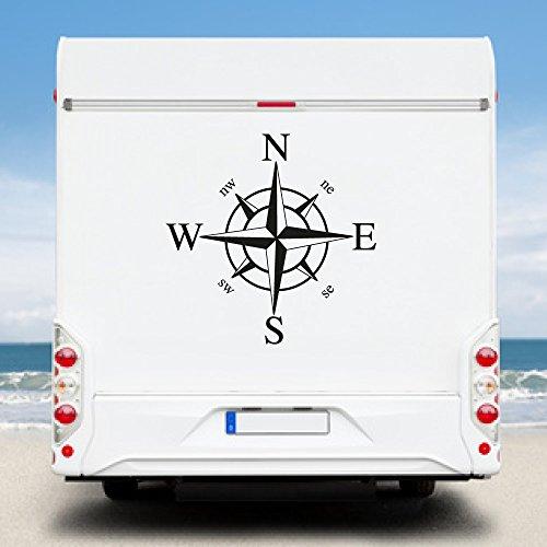 KINGZDESIGN® WA92 - Wohnmobil Aufkleber - Wohnwagen Aufkleber - Kompassrose