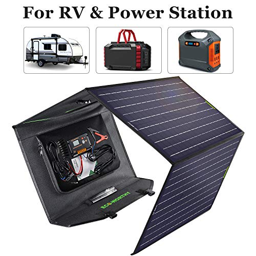 ECO-WORTHY 120W Foldable Solar Panel Charger Kit with Controller for Aimtom,Rockpals,Prymax,Acopower,Suaoki Portable Power Station Generator/Trailer, Camper Van,Car Battery/Laptop