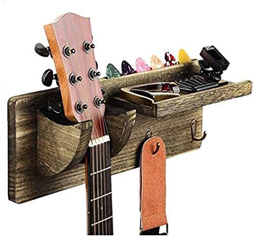 Soporte Pared Guitarra, Colgador de Guitarra Eléctrica, Ganchos de la Pared para Guitarra, Colgador de Guitarra de Madera, Estante con Soporte Para Púas y 3 Ganchos (Gris Sándalo)
