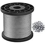 1/16 Wire Rope, 304 Stainless Steel Wire Cable, 328ft Length Aircraft Cable, 7x7 Strand Core,368lbs Breaking Strength with 100Pcs Aluminum Crimping Clamps Loop Sleeve Multi-Purpose Home DIY Art Craft
