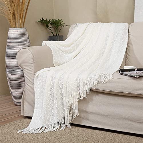 LinTimes Schlafdecke im Landhausstil Dekorative Decken mit Quasten Gemütliche Hund Kuscheldecke Weiß Waffel Strickdecke für Büro, Auto, 130 x 150 cm