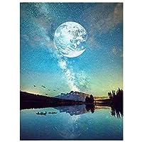 5dダイヤモンド絵画セット、川の明るい月、クリスタルラインストーン刺繡、家の壁の装飾ギフト-スクエアダイヤモンド_30 * 40
