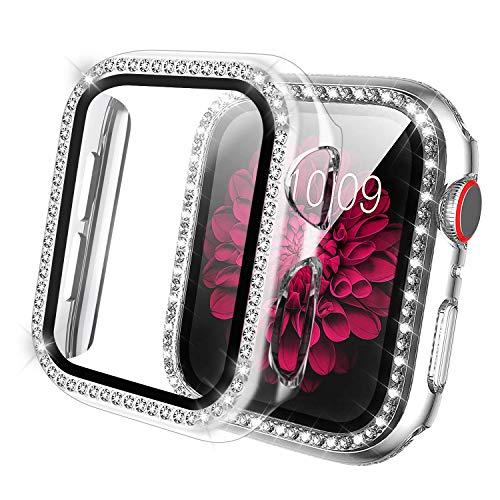 Qianyou per Apple Watch 40mm Series 6/SE/5/4 Cover+Protezione Schermo, Glitter PC Custodia Copri Protettiva in Vetro Temperato, Strass Brillanti Case Pieno Ultra Sottile Paraurti Pellicola (Bianca)