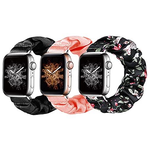 Homgaty 3 bandas elásticas para reloj de 38 mm y 40 mm, 3 unidades de correa elástica para reloj de pulsera de repuesto para iWatch Series SE 6, 5, 4, 3, 2 1 (negro, rosa, estampado estampado)