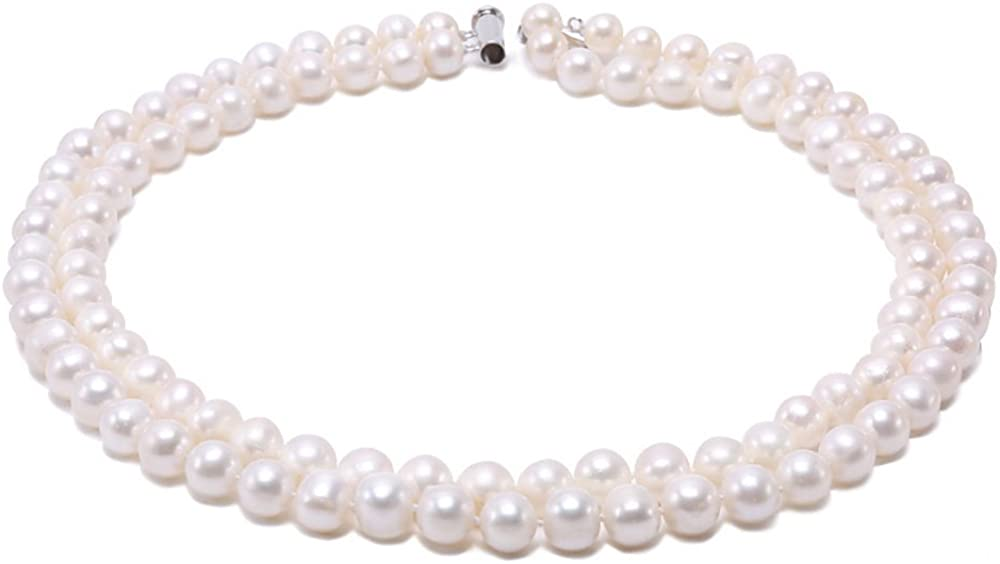 JYX Pearl Double Strand Necklace AAA Quality 8-9mm White Round Freshwater Cultured Pearl Necklace