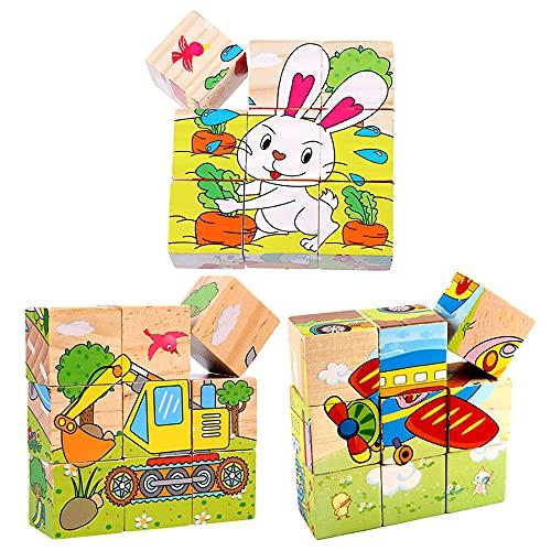 ZoneYan 3 Piezas Rompecabezas Cubos Niños, Rompecabezas de Cubos de Madera, Bloques de Rompecabezas, Colorido Puzzle de Cubos, Puzzles de Madera, Juguetes Educativos Montessori, Estilos Aleatorios