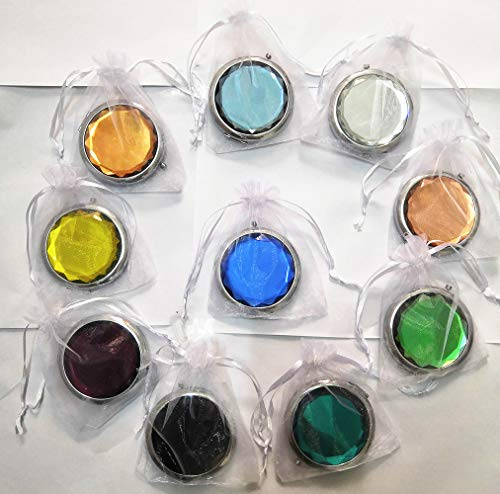 10pcs (1 Set) Different Colors Double Compact Cosmetic Makeup Round Pocket Purse Magnification Jewel Mirror Wedding Gifts for Guests( Come with White Organza Pouch)