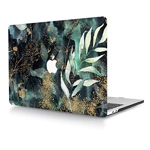 AJYX Case for MacBook Pro 15 inch 2015 2014 2013 2012 Release A1398 Smooth Touch Plastic Protective Shell with Pattern on Laptop Hard Case for MacBook Pro 15' with Retina Display, Green & Gold
