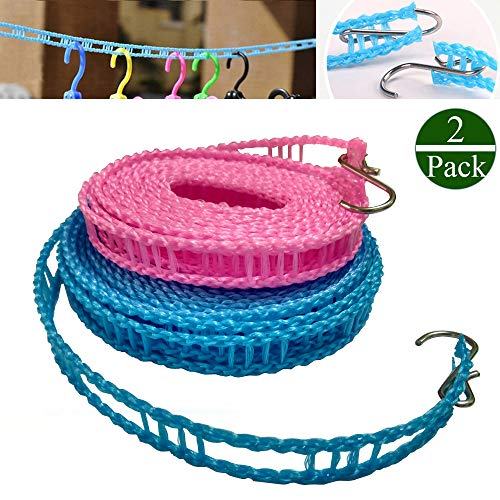 2 PACK Nylon Clothesline Windproof Clothes Drying Rope Travel Clothes Line Portable Laundry Line Hanger Rope For Indoor Outdoor Camping Home Hotel Random Color (Pack of 2 Clothesline(3m & 5m))