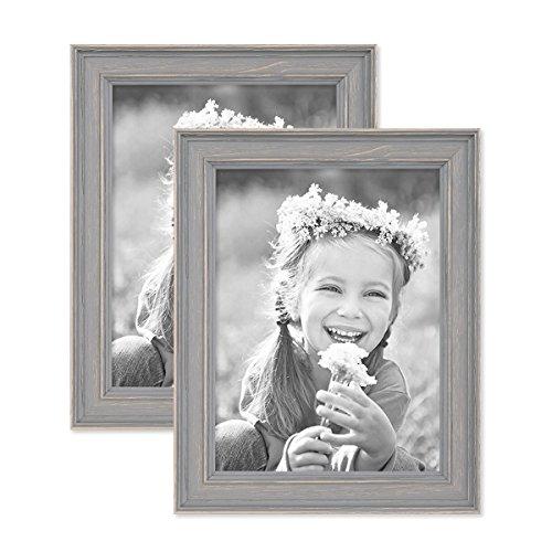 PHOTOLINI 2er Set Bilderrahmen Skandinavischer Landhaus-Stil Grau-Braun 18x24 cm Massivholz mit Shabby-Chic Note/Fotorahmen/Wechselrahmen