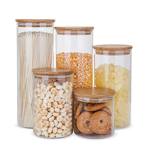 Juego de recipientes herméticos de almacenamiento de alimentos de vidrio con tapas de madera de bambú, juego de 5 botes de cocina para azúcar, dulces, galletas, arroz y especias