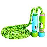 Cuerda para Saltar Skipping Rope ajustable con mango de madera para niños, longitud de 102 pulgadas adecuado para el juego escolar o actividad al aire libre