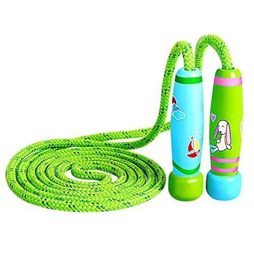 KONVINIT Springseil Kinder Springseil Verstellbare mit Holz Griff und Baumwolle Seil für Fitnesstraining abnehmen Fat Burning Übungen,Grün