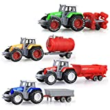 Jadpes Giocattolo del Modello di Camion del Trattore di Simulazione,4 Pezzi/Set Scala in Scala 1:64 Mini Set di Modelli di Veicoli agricoli agricoli Modello di Auto per Bambini per ba