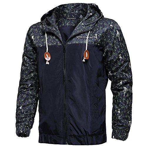 Allonly Men's Long Sleeve Floral Printed Hooded Windbreaker Jacket,9,US M=Asian XL