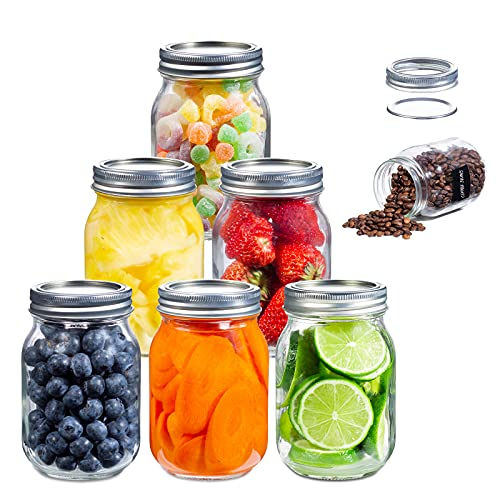 [Newest Superb Version]EAXCK 16 oz Mason Jars with Lids and Bands 6 PACK,Wide Mouth Canning Jars Honey Jars Ideal for Food Storage,Canning,Drinking,Fruit & Vegetable Slices,8 Labels and One Pen Included
