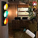 ZJJZ Focos de Pared Verde Rojo Semáforo Retro Luces de Pared LED Interiores con Control Remoto, Lámpara de Pared de Advertencia Creativa con Interruptor Decoración de habitación Infantil para Res