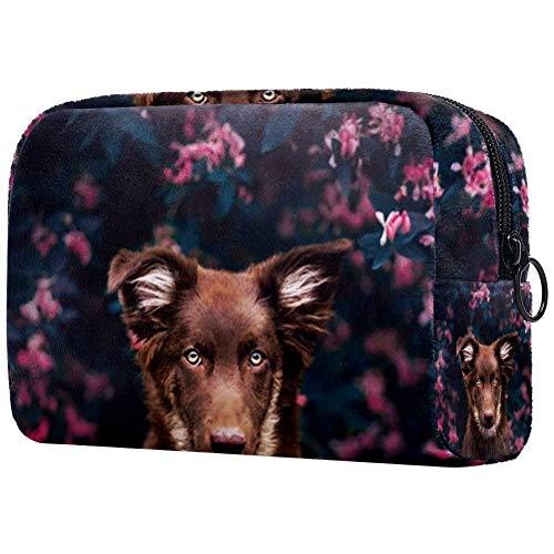 Attraktiver Reise-Make-up-Koffer mit Hundemotiv