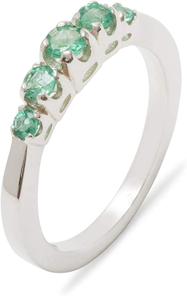 Solid 925 Sterling Silver Large discharge sale Japan Maker New Natural Emerald - Ring band Womens Siz
