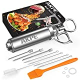 AKPE Meat Injector, Stainless Steel Marinade injector Syringe for BBQ Grill and Turkey, 2 Ounce Syringe with 3 Needles, Easy to Use and Clean
