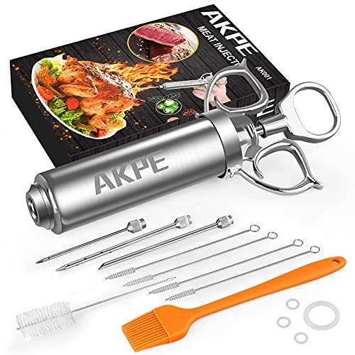 AKPE Meat Injector, Stainless Steel Marinade injector Syringe for BBQ Grill and Turkey, 2 Ounce...
