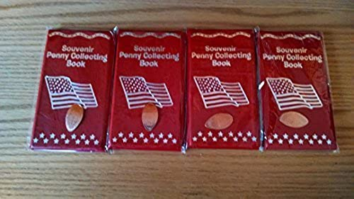 4 rot Elongated Penny Souvenir Collector Books With 4 FREE Pressed Pennies  by RINCO