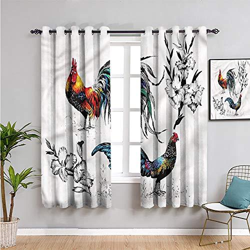 Pcglvie Gallus - Cortinas opacas para decoración de dormitorio, 160 cm de largo, diseño de ramas de flores, tela impermeable de 106 cm de ancho x 163 cm de largo