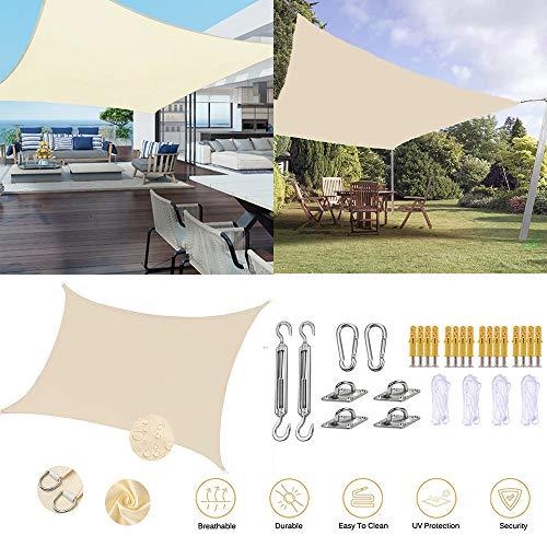 ZHENN Sonnensegel Wasserdicht Sunproof Markise Schattiernetz Rechteck Außensonnensonnensegel Garten Pool Camping Mit festem Zubehör Milchig,3x7m/9.5'x23'
