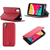 Etui Wiko Rainbow Jam 4G rouge luxe Ultra Slim Cuir Style avec stand - Housse Folio Flip Cover coque de protection smartphone Wiko...