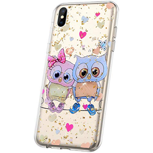 JAWSEU Compatible avec Coque iPhone X/iPhone XS Transparente Silicone Glitter Paillette Brillant Belle Coloré Motif Slim Souple TPU Cristal Clair Housse per iPhone X/XS,Chouette