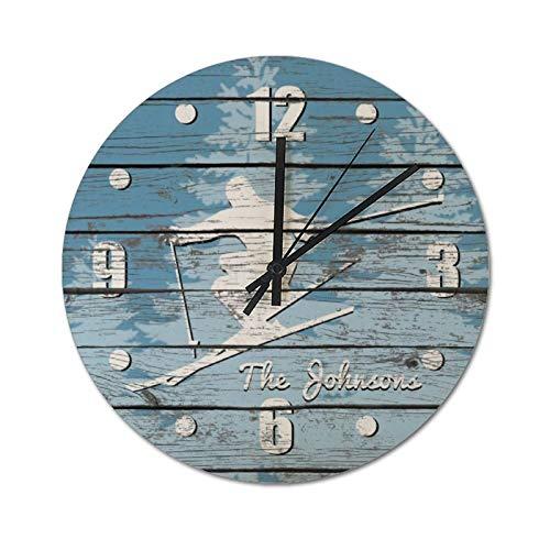 Pealrich Reloj de pared silencioso sin garrapatas – 25 x 25 cm, aspecto rústico, esquiar o esquiar tu texto – Reloj rústico para decoración del hogar, fácil de leer