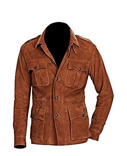 Classyak Men's Fashion 4 Pocket Suede Leather Coat Brown Medium