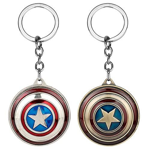 BCCDP Vengadores Llavero Capitán América Llavero Llavero de Metal,Llavero con Escudo Giratorio del Capitán América, versión rotativa 2pcs