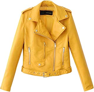iHHAPY Ladies Biker Jacket Motorcycle Jacket Faux Leather Jacket PU Leather Coat Autumn with Rivet and Multiple Zipper