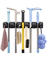 AMERTEER Mop and Broom Holder Wall Mount Heavy Duty Broom Holder Wall Mounted Broom Organizer Home Garden Garage Storage Rack 5 Position (black)