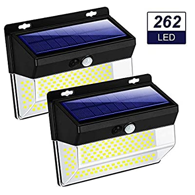 ZHENREN 262 LED Solar Motion Sensor Lights Outdoor, Wireless Solar Flood Security Light IP65 Waterproof 3 Modes Super Bright 270° Wide Illumination Range for Garden Patio Yard Walkway Driveway, 2 Pack