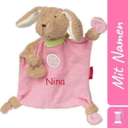 *Sigikid Schnuffeltuch Hund mit Namen Bestickt, Baby & Kinder Schmusetuch personalisiert, Kuscheltuch Geschenkidee Mädchen, First Love, Rosa, 38785*