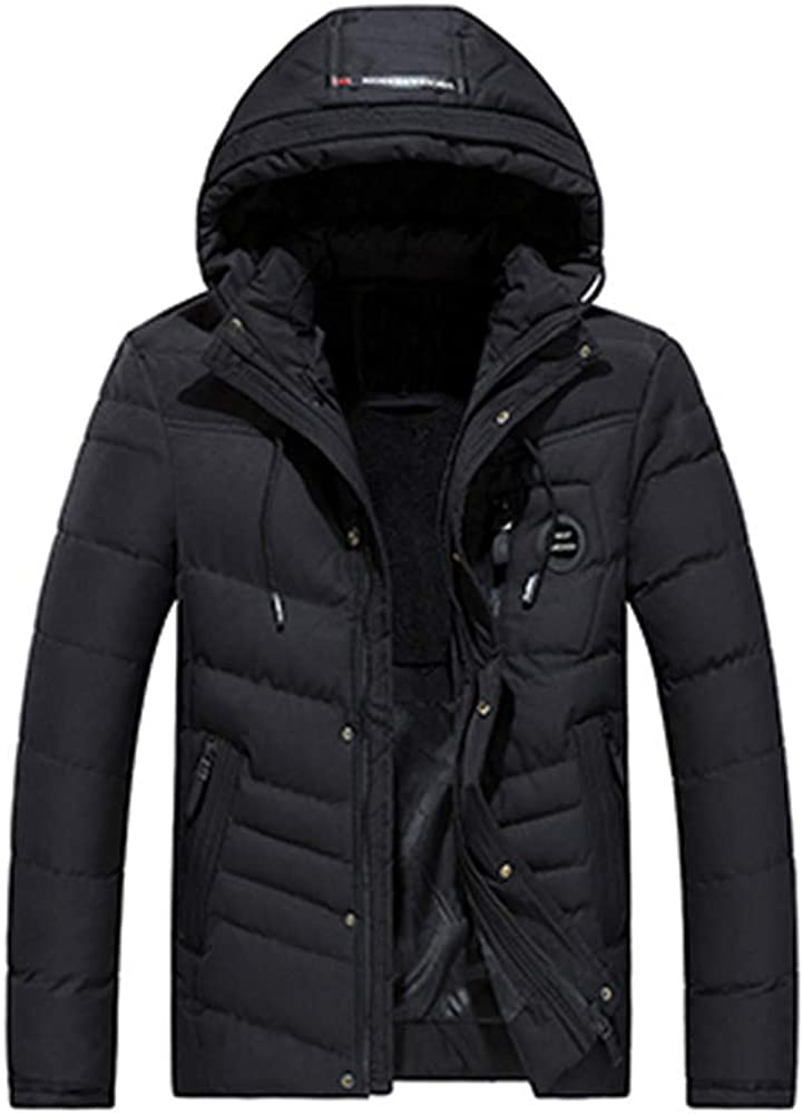 Gocheaper_Clothes Men's Winter Warm Hoodie Jacket Zipped Thick Solid Fleece Cotton-Padded Coat